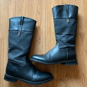 Cole Haan Black Leather Logo Riding Boots